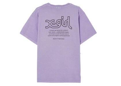 X-Girl Words Logo Pigment Dye S/S Mens Tee Light Purpleの写真