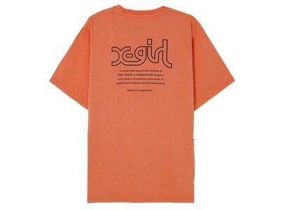 X-Girl Words Logo Pigment Dye S/S Mens Tee Orangeの写真
