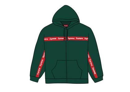 Supreme Text Stripe Zip Up Hooded Sweatshirt Dark Greenの写真