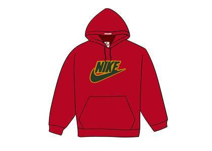 Supreme Nike Leather Applique Hooded Sweatshirt Redの写真