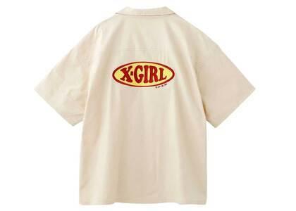 X-Girl Chubby Oval Logo Open Collar Shirt Beigeの写真