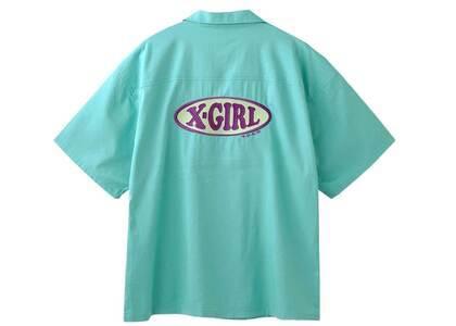 X-Girl Chubby Oval Logo Open Collar Shirt Greenの写真