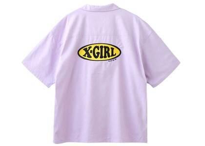 X-Girl Chubby Oval Logo Open Collar Shirt Light Purpleの写真
