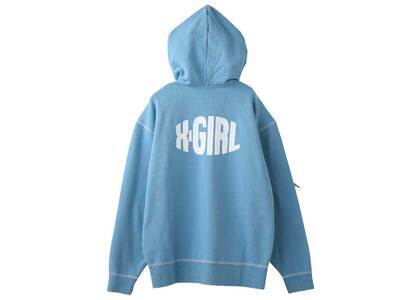 X-Girl Curved Logo Zip UpSweat Hoodie Light Blueの写真
