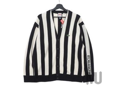 Supreme LACOSTE Stripe Cardigan Blackの写真