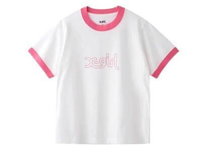 X-Girl Mills Logo S/S Ringer Tee Whiteの写真