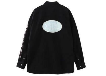 X-Girl Oval Logo Corduroy L/S Shirt Blackの写真