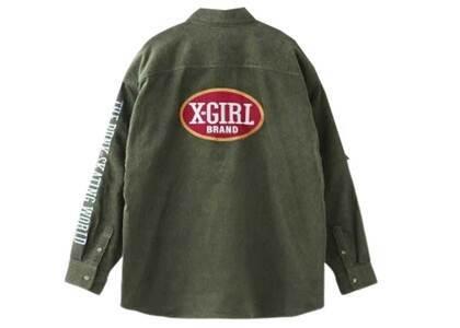 X-Girl Oval Logo Corduroy L/S Shirt Oliveの写真
