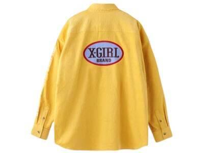 X-Girl Oval Logo Corduroy L/S Shirt Yellowの写真