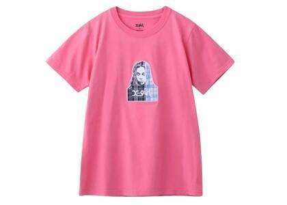 X-Girl Plaid PatchWork Face S/S Regular Tee Pinkの写真