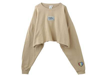 X-Girl Prism Patch Cropped Crew Sweat Top Beigeの写真