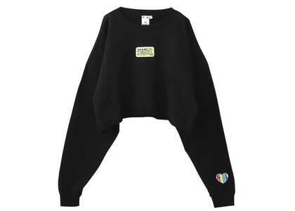 X-Girl Prism Patch Cropped Crew Sweat Top Blackの写真