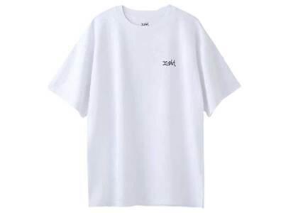 X-Girl Words Logo Pigment DyeD S/S Mens Tee Whiteの写真
