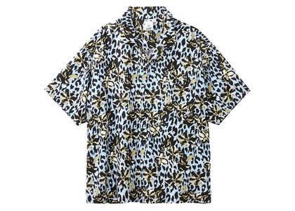 X-GirlFloral Leopard Aloha Open Collar Shirt Light Blueの写真