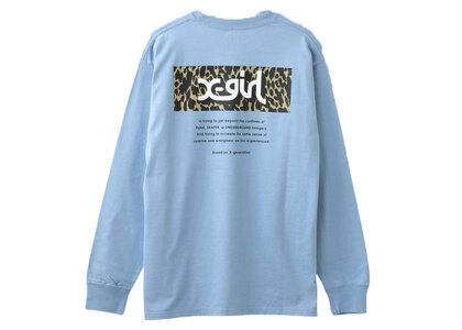 X-Girl Leopard Box L/S Tee Light Blue (Back Print)の写真
