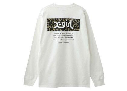 X-Girl Leopard Box L/S Tee White (Back Print)の写真