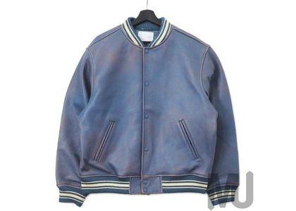 Supreme Worn Leather Varsity Jacket Blueの写真