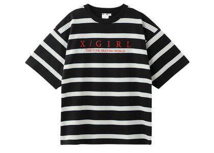 X-Girl Striped H/S Tee Black/Redの写真
