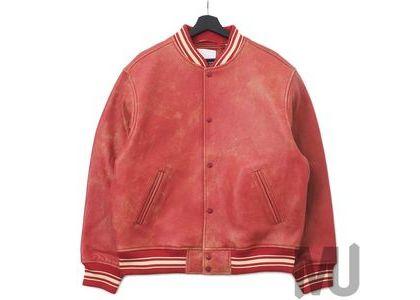 Supreme Worn Leather Varsity Jacket Redの写真