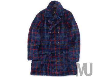 Supreme Jean Paul Gaultier Double Breasted Plaid Faux Fur Coat Blueの写真