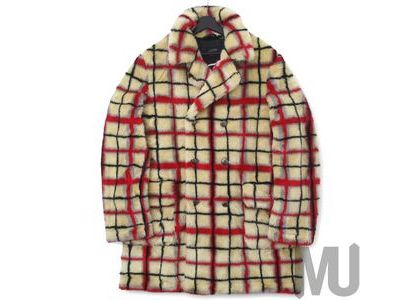 Supreme Jean Paul Gaultier Double Breasted Plaid Faux Fur Coat OffWhiteの写真