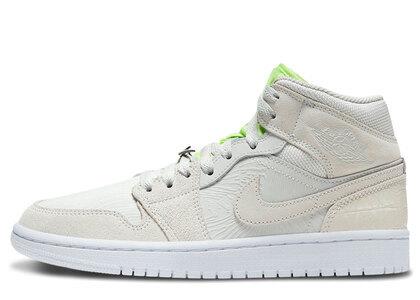 Nike Air Jordan 1 Mid Vast Grey/Ghost Green-White Womensの写真