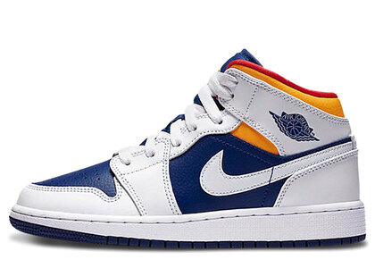 Nike Air Jordan 1 Mid White Laser Orange Deep Royal Blue (GS)の写真