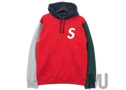 Supreme S Logo Colorblocked Hooded Sweatshirt Redの写真