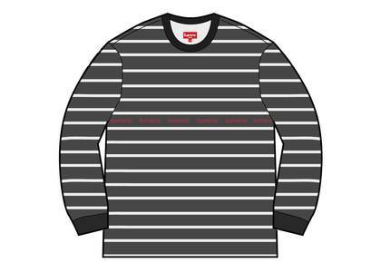 Supreme Printed Stripe Pique L-S Top Blackの写真
