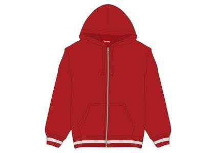 Supreme Old English Stripe Zip Up Sweatshirt Redの写真
