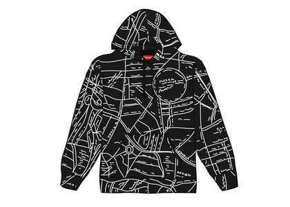 Supreme Gonz Embroidered Map Hooded Sweatshirt Blackの写真