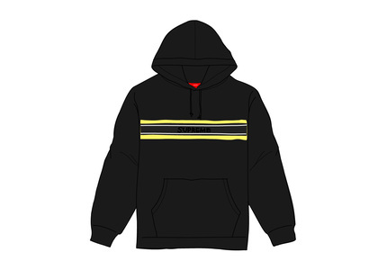 Supreme Chest Stripe Logo Hooded Sweatshirt Blackの写真