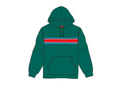 Supreme Chest Stripe Logo Hooded Sweatshirt Dark Greenの写真