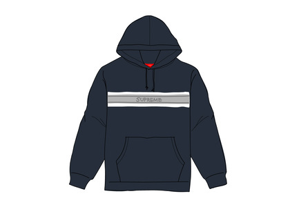 Supreme Chest Stripe Logo Hooded Sweatshirt Navyの写真