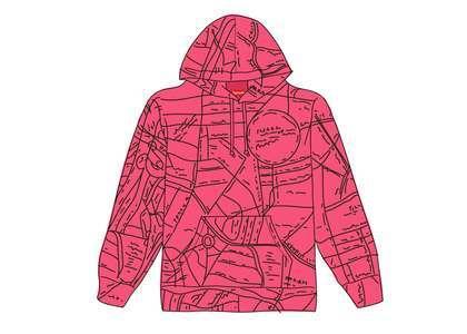 Supreme Gonz Embroidered Map Hooded Sweatshirt Magentaの写真