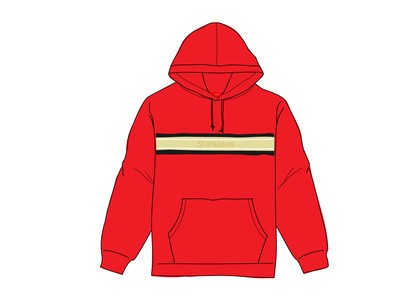 Supreme Chest Stripe Logo Hooded Sweatshirt Redの写真