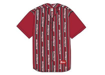 Supreme Jacquard Logo Baseball Jersey Redの写真