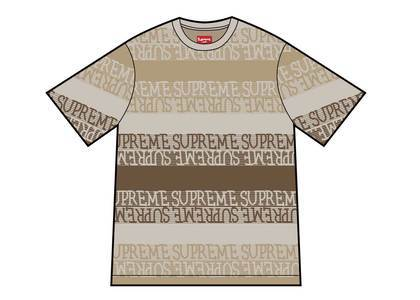 Supreme Text Stripe Jacquard S-S Top Naturalの写真