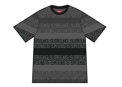 Supreme Text Stripe Jacquard S-S Top Blackの写真
