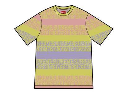 Supreme Text Stripe Jacquard S-S Top Yellowの写真