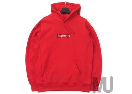 Supreme Swarovski Box Logo Hooded Sweatshirt Redの写真