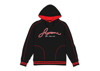 Supreme Contrast Embroidered Hooded Sweatshirt Blackの写真