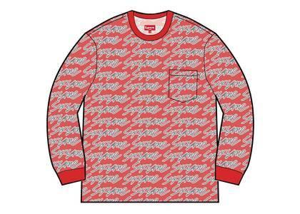 Supreme Signature Script Logo L-S Pocket Tee Redの写真