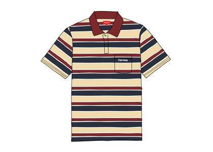 Supreme Classic Logo Stripe Polo Dark Redの写真