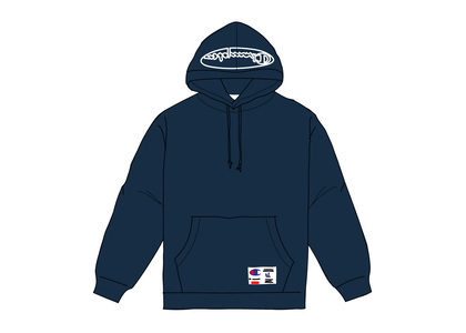 Supreme Champion Outline Hooded Sweatshirt Navyの写真