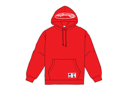Supreme Champion Outline Hooded Sweatshirt Dark Redの写真