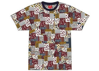 Supreme Patchwork Paisley S-S Top Dark Redの写真