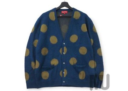 Supreme Brushed Polka Dot Cardigan Navyの写真