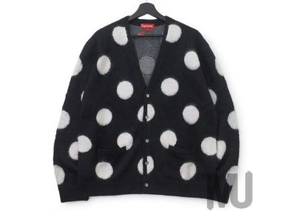Supreme Brushed Polka Dot Cardigan Blackの写真