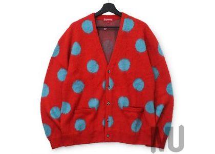 Supreme Brushed Polka Dot Cardigan Redの写真